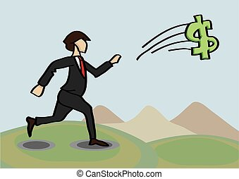 Chasing After Money Metaphor Vector Cartoon Illustration