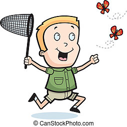 Chasing Butterflies - A happy cartoon boy chasing ...