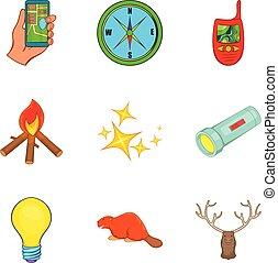 Chasing icons set, cartoon style
