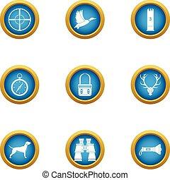Chasing icons set, flat style