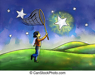 Kid trying to catch a star with a butterfly net. Digital watercolor.