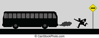 Chasing The Bus - Vector illustration of a man chasing the...