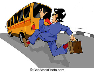 Chasing The Bus - Cartoon illustration of a man chasing a...