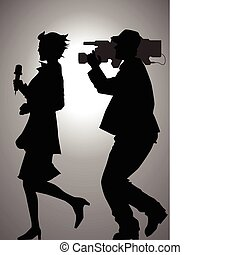 Chasing The News - Silhouette illustration of a reporter and...