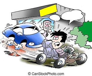 chasis, lleno, velocidad