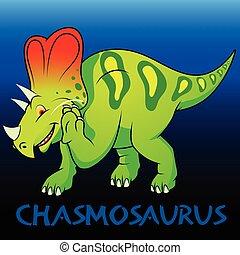 chasmosaurus, schattig, dinosaurussen