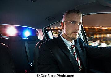chassé, sur, police, tiré, homme