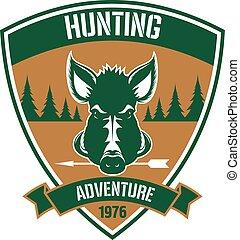 chasse, club, héraldique, triangulaire, conception, écusson