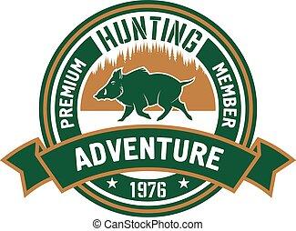 chasse, club, verrat, forêt, sauvage, écusson