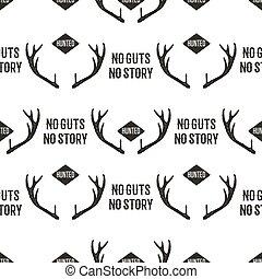 chasse, conception modèle, -, non, boyaux, non, histoires, quote., dehors, aventure, seamless, fond, à, horns., affligé, silhouette, style., gentil, pour, chasse, fervents, clubs, tee, packaging., stockage, vecteur