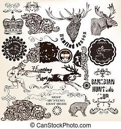 chasse, ensemble, décoratif, vecteur