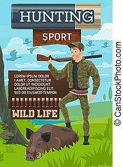 chasse, jambe, club, affiche, chasseur, mettre, verrat
