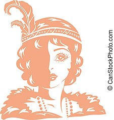chasse-mouches, girl, stencil, illustration
