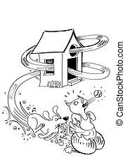 chasser, chien, chat
