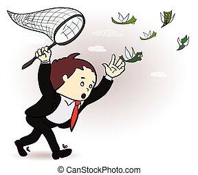 chasser, illustration., argent, voler, directeur, prise, homme affaires