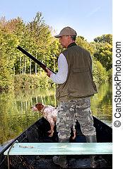 chasseur, chien, bateau