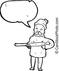 chasseur, dessin animé, fusil