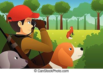 chasseur, sien, renard, chien, chasse
