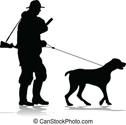 chasseur, silhouette, chien