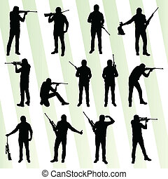 chasseur, silhouette, ensemble, vecteur, fond