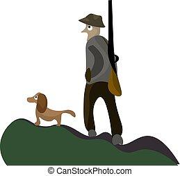 chasseur, vecteur, chien, portrait, couleur, ou, illustration, sien