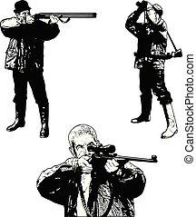 chasseurs, ensemble, -, croquis, illustration