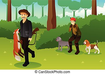 chasseurs, sien, renard, chiens, chasse