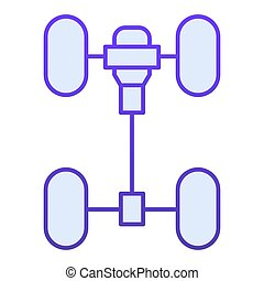 Chassis car flat icon. Automobile wheels mechanism blue icons in trendy flat style. Auto part gradient style design, designed for web and app. Eps 10.
