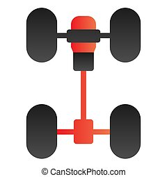 Chassis car flat icon. Automobile wheels mechanism color icons in trendy flat style. Auto part gradient style design, designed for web and app. Eps 10.