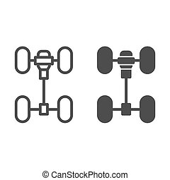 Chassis car line and glyph icon. Automobile wheels mechanism vector illustration isolated on white. Auto part outline style design, designed for web and app. Eps 10.