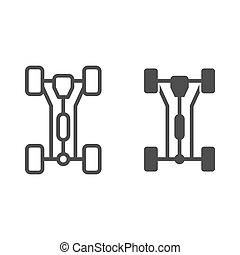 Chassis car line and glyph icon. Car wheels vector illustration isolated on white. Automobile part outline style design, designed for web and app. Eps 10.