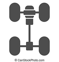 Chassis car solid icon. Automobile wheels mechanism vector illustration isolated on white. Auto part glyph style design, designed for web and app. Eps 10.