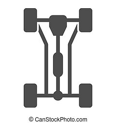 Chassis car solid icon. Car wheels vector illustration isolated on white. Automobile part glyph style design, designed for web and app. Eps 10.