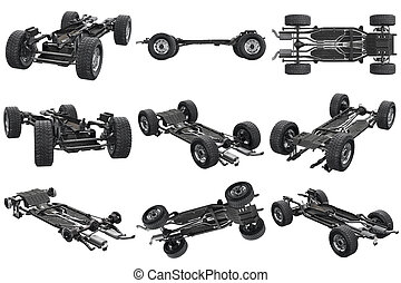 Chassis frame car set - Chassis frame car with wheel set. 3D...