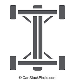 Chassis glyph icon, car and part, auto shaft sign, vector graphics, a solid pattern on a white background.