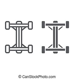 Chassis line and glyph icon, car and part, auto shaft sign, vector graphics, a linear pattern on a white background.