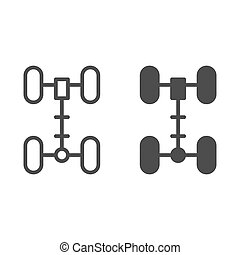 Chassis line and glyph icon. Wheel vector illustration isolated on white. Car part outline style design, designed for web and app. Eps 10.