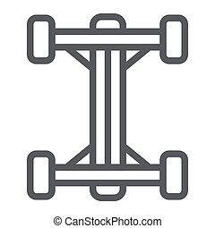 Chassis line icon, car and part, auto shaft sign, vector graphics, a linear pattern on a white background.