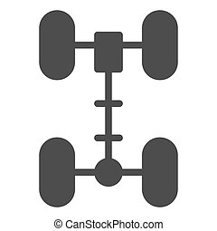 Chassis solid icon. Wheel vector illustration isolated on white. Car part glyph style design, designed for web and app. Eps 10.