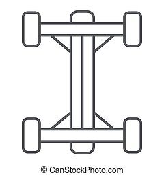 Chassis thin line icon, car and part, auto shaft sign, vector graphics, a linear pattern on a white background.