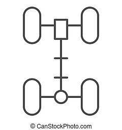 Chassis thin line icon. Wheel vector illustration isolated on white. Car part outline style design, designed for web and app. Eps 10.