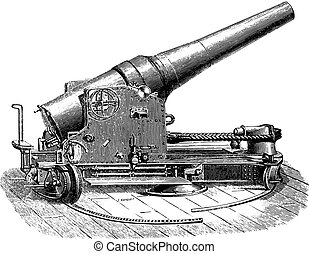 Chassis tuned half-turret gun 27 degree, vintage engraving.