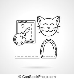 chat, à, ligne téléphonique, vecteur, icône