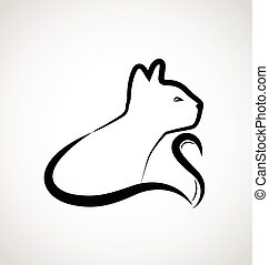 chat, élégant, logo, vecteur