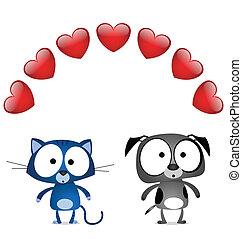 chat, amants, chien, valentin