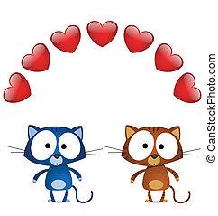 chat, amants, valentin