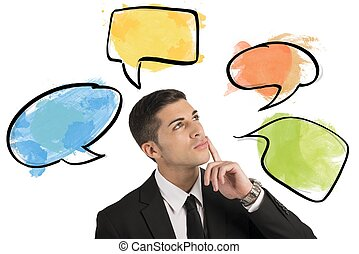 Chat and social network concept with thinking businessman