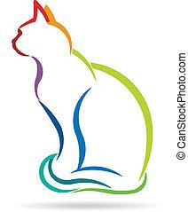 chat, appelé, couleur, image., silhouette