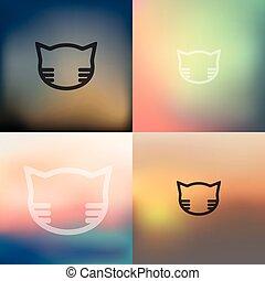 chat, arrière plan flou, icône