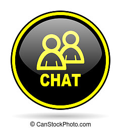 chat black and yellow glossy internet icon